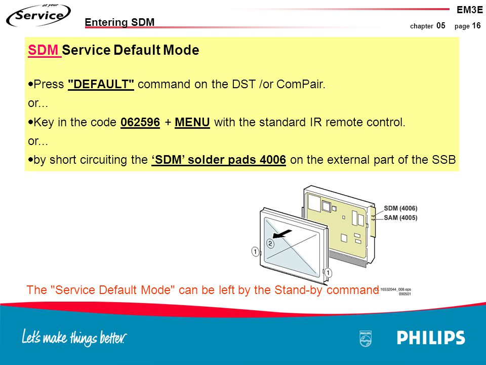 EM3E chapter 05 page 16 Entering SDM SDM Service Default Mode  Press