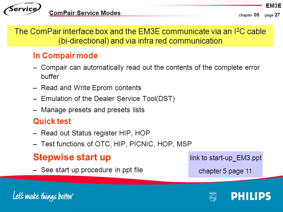 EM3E chapter 05 page 27 In Compair mode –Compair can automatically read out the contents of the complete error buffer –Read and Write Eprom contents –