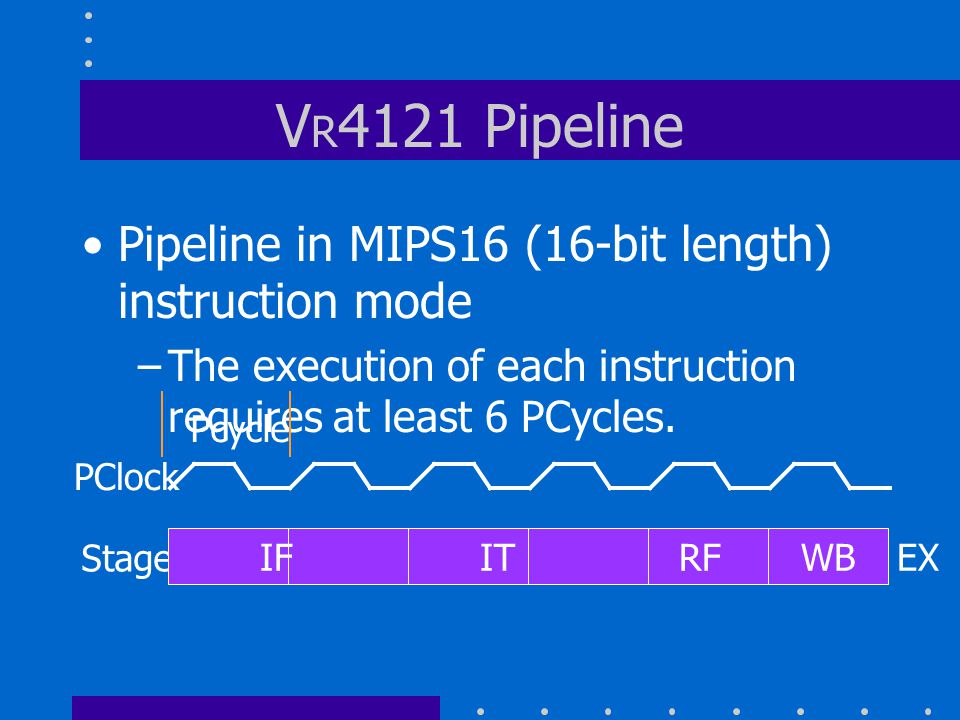 V R 4121 Pipeline Pipeline in MIPS16 (16-bit length) instruction mode –The execution of each instruction requires at least 6 PCycles.