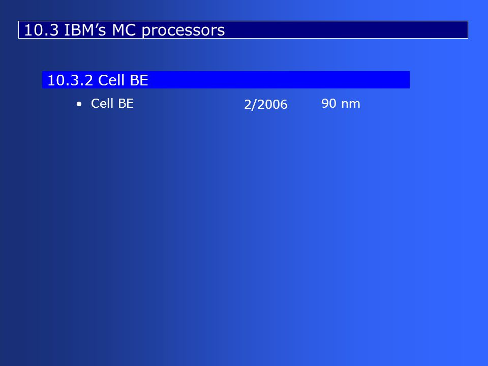 10.3 IBM's MC processors Cell BE90 nm 2/2006 10.3.2 Cell BE
