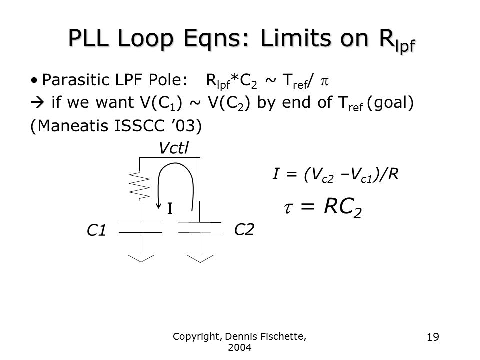Copyright, Dennis Fischette, 2004 19 PLL Loop Eqns: Limits on R lpf Parasitic LPF Pole: R lpf *C 2 ~ T ref /   if we want V(C 1 ) ~ V(C 2 ) by end of T ref (goal) (Maneatis ISSCC '03) I = (V c2 –V c1 )/R  = RC 2 C2 C1 Vctl I