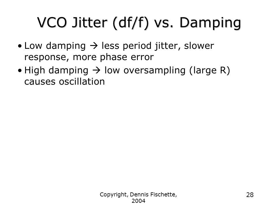 Copyright, Dennis Fischette, 2004 28 VCO Jitter (df/f) vs. Damping Low damping  less period jitter, slower response, more phase error High damping 