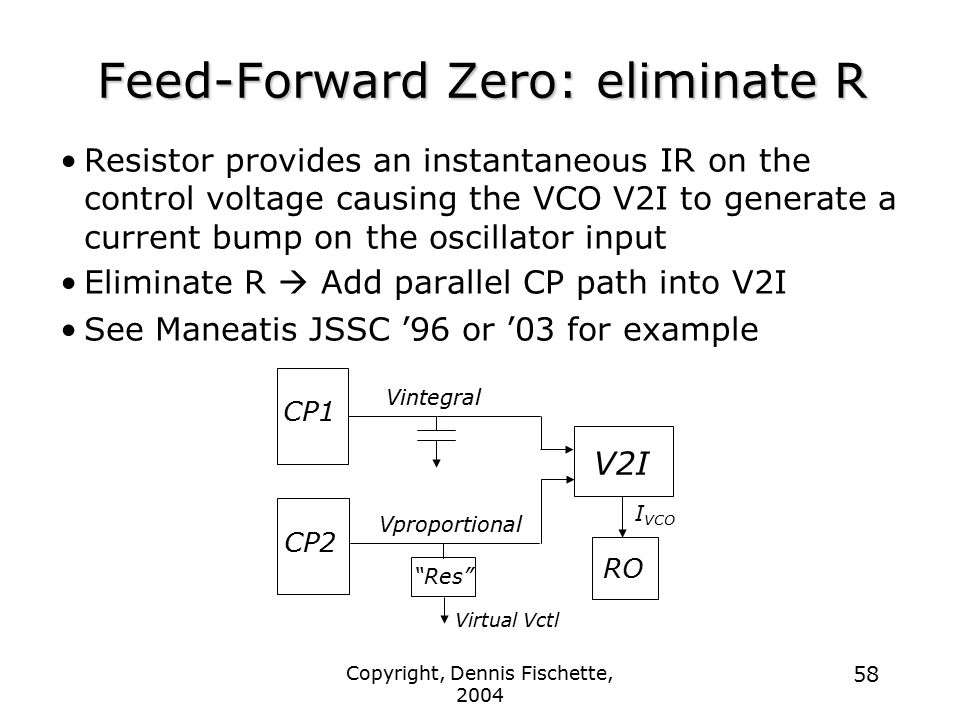 Copyright, Dennis Fischette, 2004 58 Feed-Forward Zero: eliminate R Resistor provides an instantaneous IR on the control voltage causing the VCO V2I to generate a current bump on the oscillator input Eliminate R  Add parallel CP path into V2I See Maneatis JSSC '96 or '03 for example CP1 Vintegral Virtual Vctl CP2 Res Vproportional V2I RO I VCO