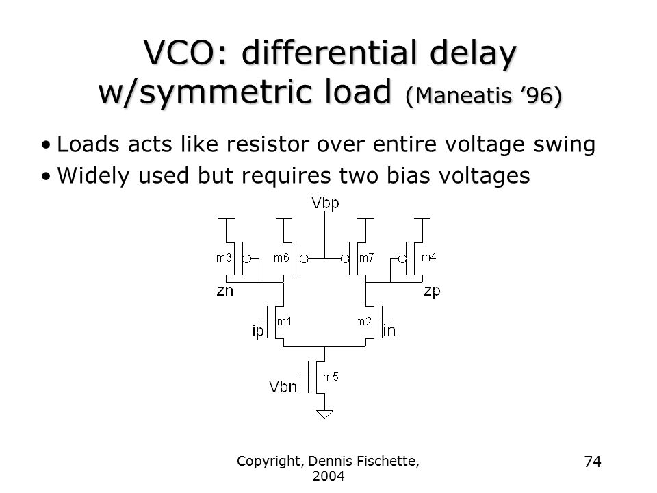 Copyright, Dennis Fischette, 2004 74 VCO: differential delay w/symmetric load (Maneatis '96) Loads acts like resistor over entire voltage swing Widely used but requires two bias voltages