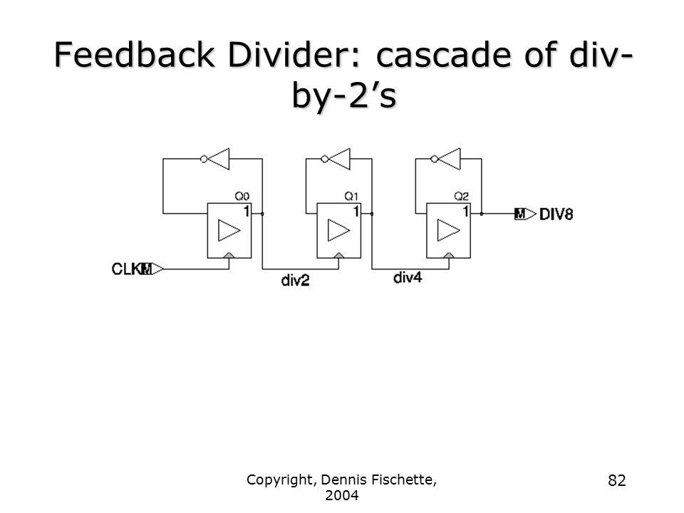 Copyright, Dennis Fischette, 2004 82 Feedback Divider: cascade of div- by-2's