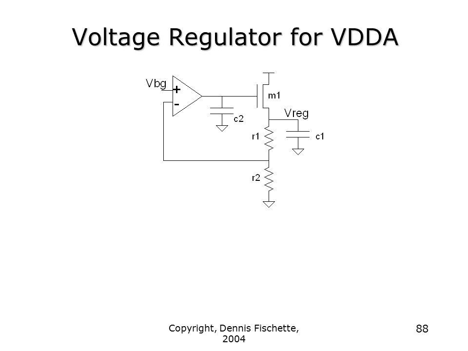 Copyright, Dennis Fischette, 2004 88 Voltage Regulator for VDDA