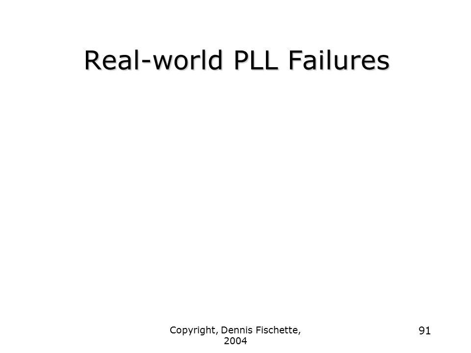 Copyright, Dennis Fischette, 2004 91 Real-world PLL Failures