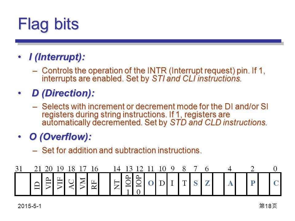 Flag bits I (Interrupt):I (Interrupt): –Controls the operation of the INTR (Interrupt request) pin. If 1, interrupts are enabled. Set by STI and CLI i