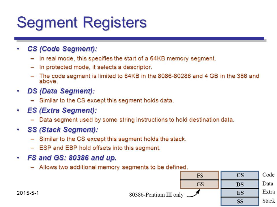 Segment Registers CS (Code Segment):CS (Code Segment): –In real mode, this specifies the start of a 64KB memory segment. –In protected mode, it select