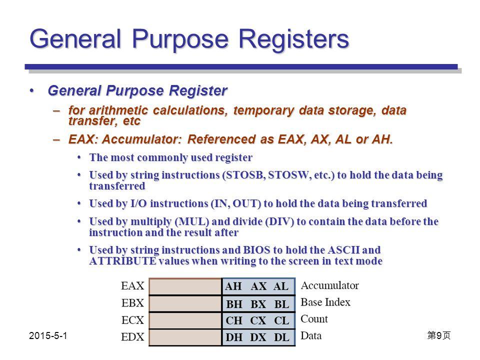 General Purpose Registers General Purpose RegisterGeneral Purpose Register –for arithmetic calculations, temporary data storage, data transfer, etc –EAX: Accumulator: Referenced as EAX, AX, AL or AH.