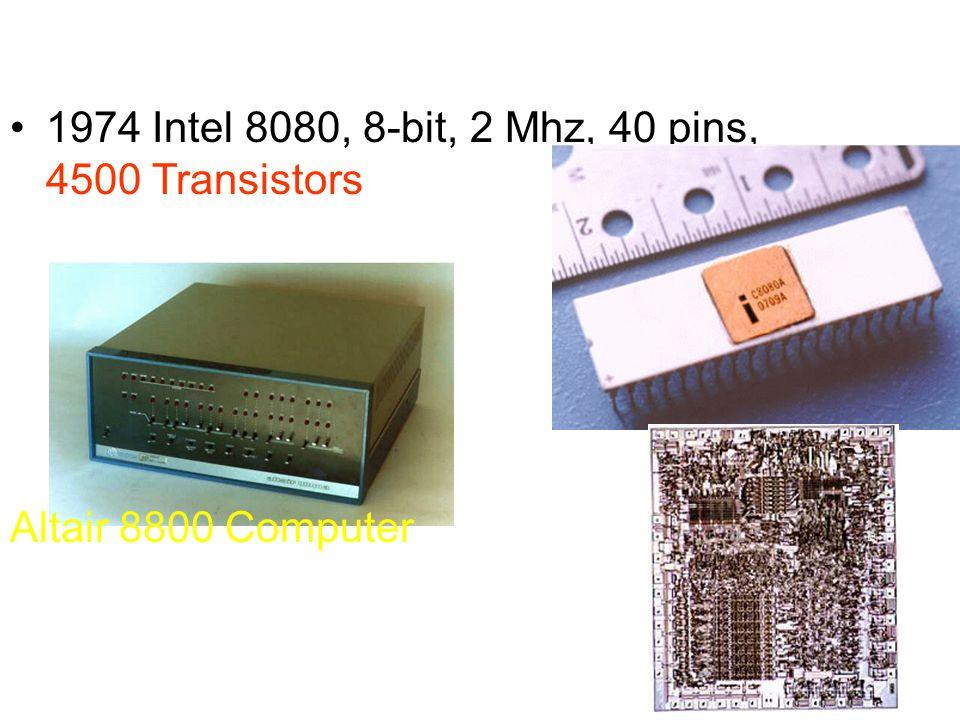 1974 Intel 8080, 8-bit, 2 Mhz, 40 pins, 4500 Transistors Altair 8800 Computer