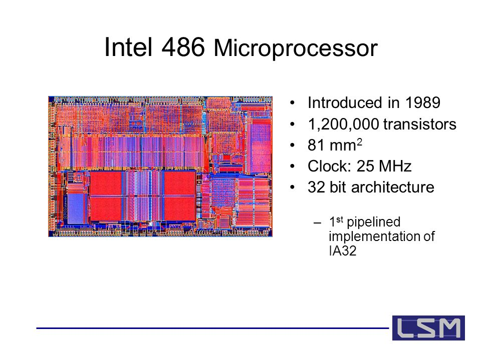 Intel 486 Microprocessor Introduced in 1989 1,200,000 transistors 81 mm 2 Clock: 25 MHz 32 bit architecture –1 st pipelined implementation of IA32