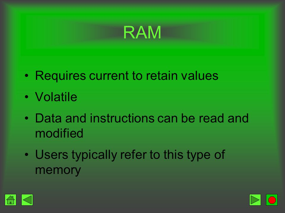 Main Types of Memory RAM Random Access Memory ROM Read Only Memory