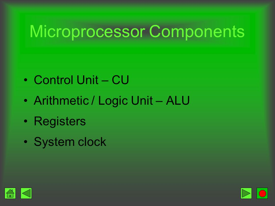Microprocessor CPU etched on a chip Chip size is ¼ x ¼ inch Composed of silicon Contains millions of transistors –Electronic switches that can allow c