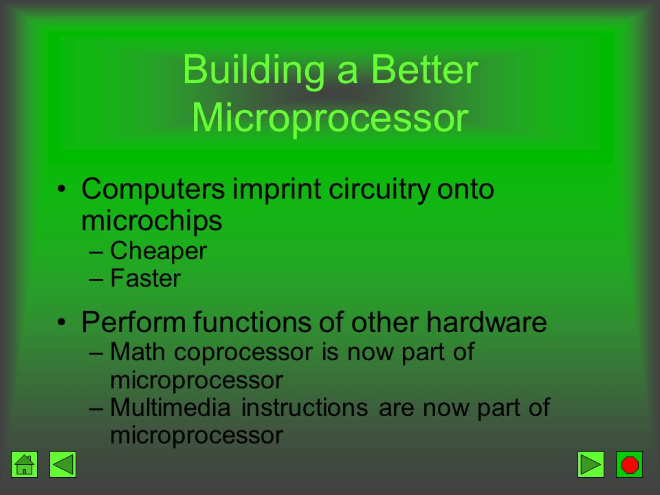 Microprocessor Components Control Unit – CU Arithmetic / Logic Unit – ALU Registers System clock