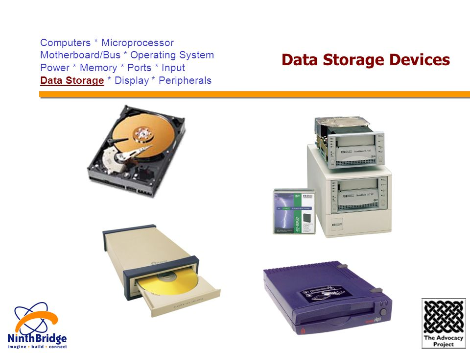 Computers * Microprocessor Motherboard/Bus * Operating System Power * Memory * Ports * Input Data Storage * Display * Peripherals Data Storage Devices