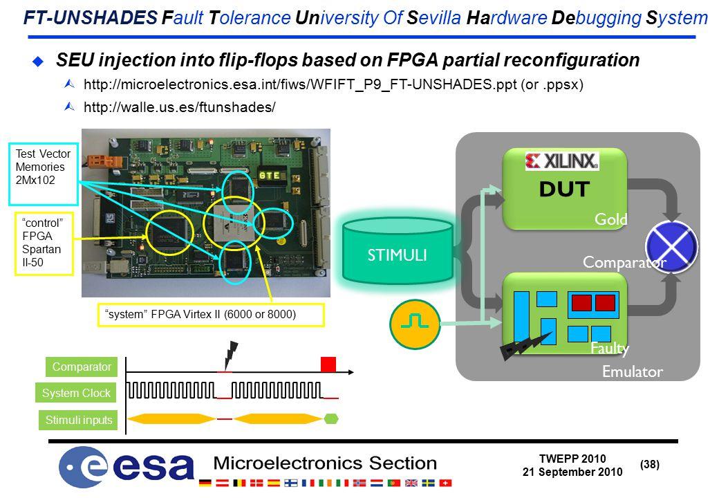 TWEPP 2010 21 September 2010 (38) FT-UNSHADES Fault Tolerance University Of Sevilla Hardware Debugging System  SEU injection into flip-flops based on FPGA partial reconfiguration  http://microelectronics.esa.int/fiws/WFIFT_P9_FT-UNSHADES.ppt (or.ppsx)  http://walle.us.es/ftunshades/ system FPGA Virtex II (6000 or 8000) control FPGA Spartan II-50 Test Vector Memories 2Mx102 Comparator System Clock Stimuli inputs DUT DESIG N STIMULI Emulator Comparator Gold Faulty