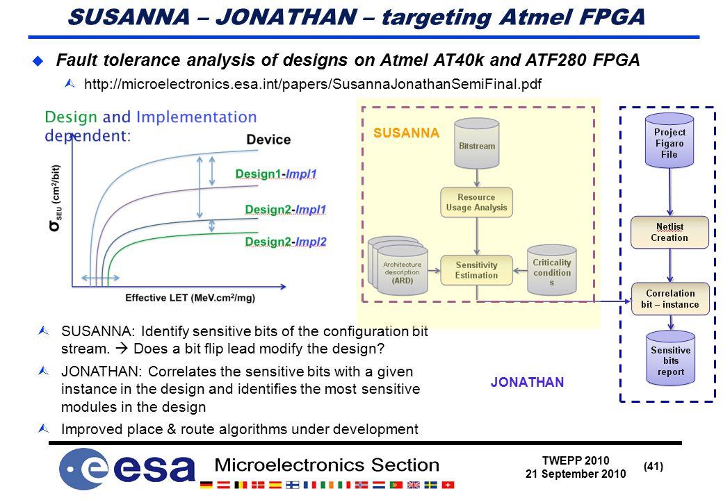 TWEPP 2010 21 September 2010 (41) SUSANNA – JONATHAN – targeting Atmel FPGA  Fault tolerance analysis of designs on Atmel AT40k and ATF280 FPGA  http://microelectronics.esa.int/papers/SusannaJonathanSemiFinal.pdf  SUSANNA: Identify sensitive bits of the configuration bit stream.