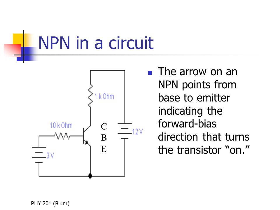 PHY 201 (Blum) NPN in a circuit The arrow on an NPN points from base to emitter indicating the forward-bias direction that turns the transistor on. CBECBE