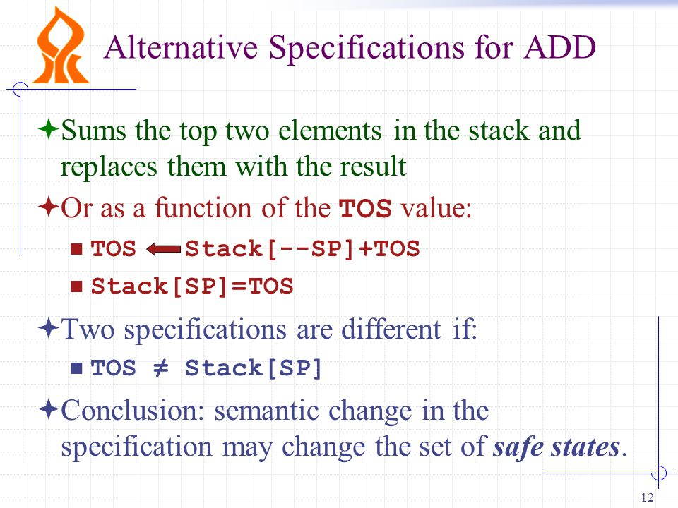 12 Alternative Specifications for ADD  Sums the top two elements in the stack and replaces them with the result  Or as a function of the TOS value: TOS Stack[--SP]+TOS Stack[SP]=TOS  Two specifications are different if: TOS ≠ Stack[SP]  Conclusion: semantic change in the specification may change the set of safe states.