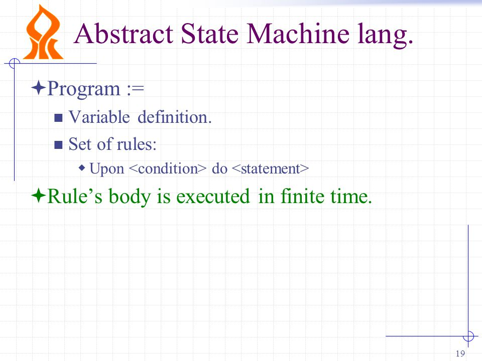 19 Abstract State Machine lang.  Program := Variable definition.