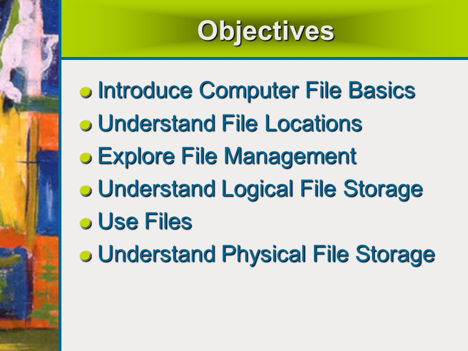 Objectives Introduce Computer File Basics Understand File Locations Explore File Management Understand Logical File Storage Use Files Understand Physical File Storage