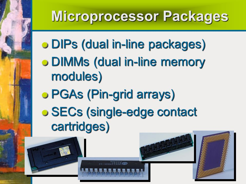 Microprocessor Packages DIPs (dual in-line packages) DIMMs (dual in-line memory modules) PGAs (Pin-grid arrays) SECs (single-edge contact cartridges)