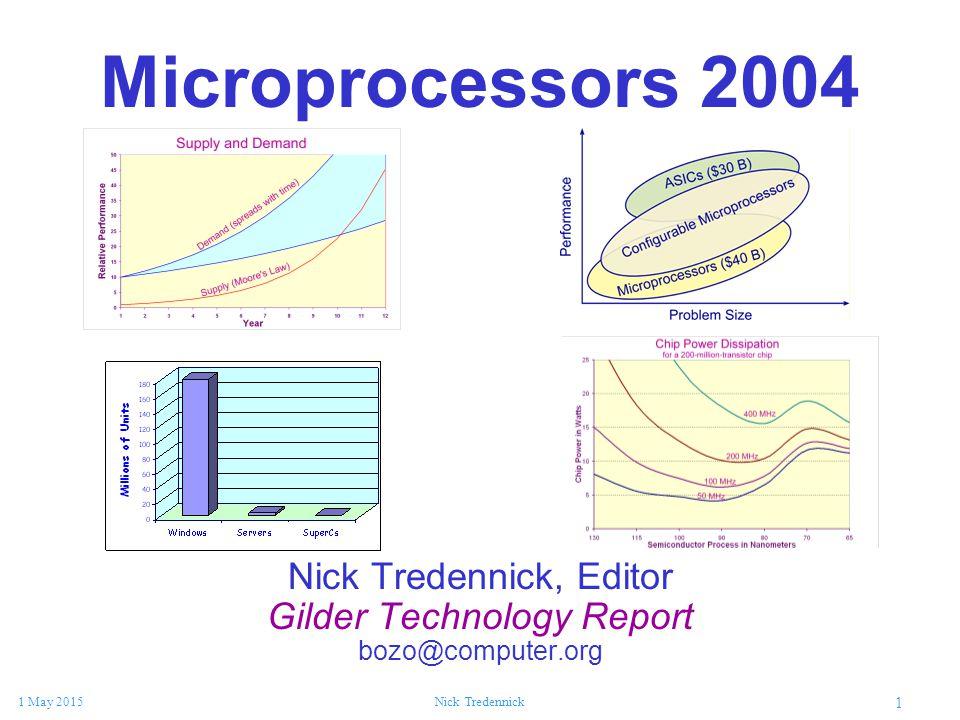 1 1 May 2015Nick Tredennick Microprocessors 2004 Nick Tredennick, Editor Gilder Technology Report bozo@computer.org