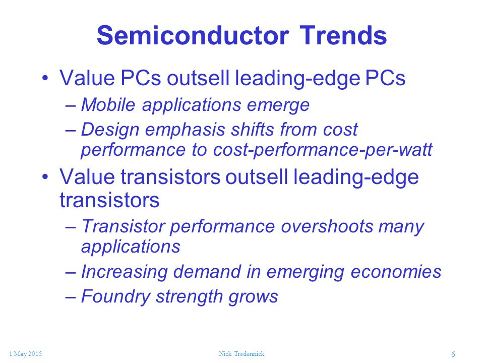 6 1 May 2015Nick Tredennick Semiconductor Trends Value PCs outsell leading-edge PCs –Mobile applications emerge –Design emphasis shifts from cost perf
