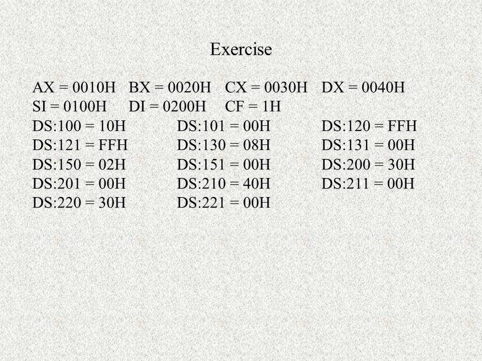 Exercise Write a program to count the number of odd numbers included in an array by using: –Shift/rotate operation