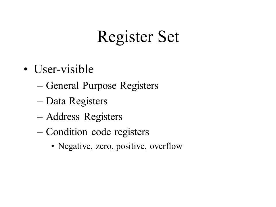 Register Set User-visible –General Purpose Registers –Data Registers –Address Registers –Condition code registers Negative, zero, positive, overflow