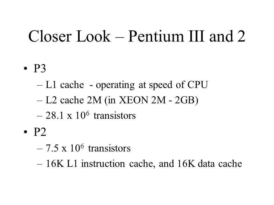 Closer Look – Pentium III and 2 P3 –L1 cache - operating at speed of CPU –L2 cache 2M (in XEON 2M - 2GB) –28.1 x 10 6 transistors P2 –7.5 x 10 6 trans