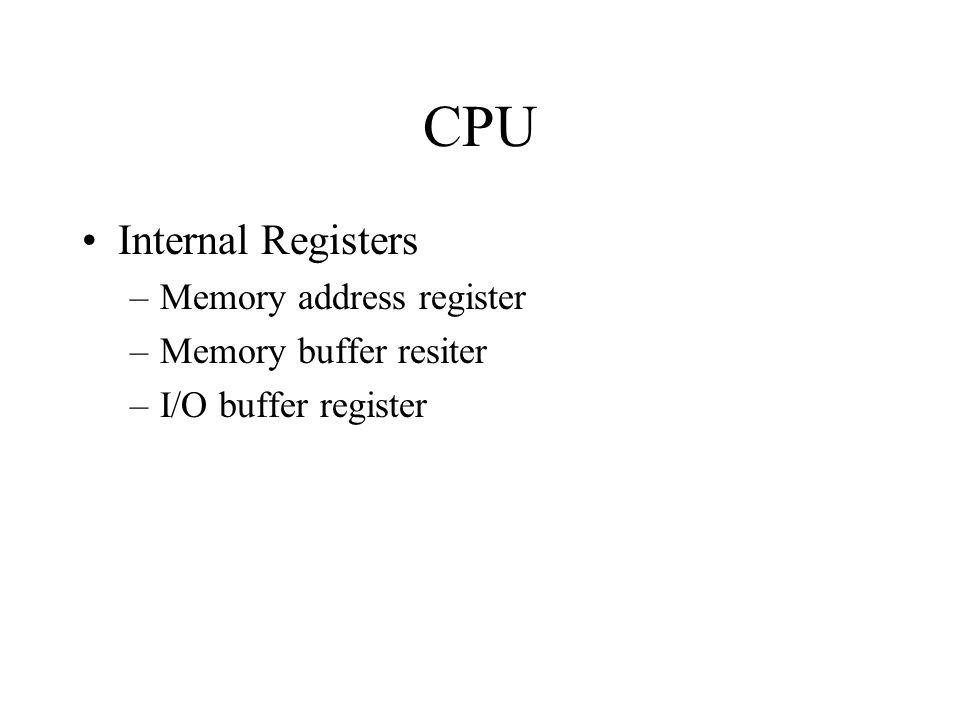 CPU Internal Registers –Memory address register –Memory buffer resiter –I/O buffer register