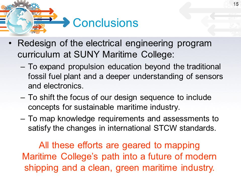 Conclusions Redesign of the electrical engineering program curriculum at SUNY Maritime College: –To expand propulsion education beyond the traditional fossil fuel plant and a deeper understanding of sensors and electronics.