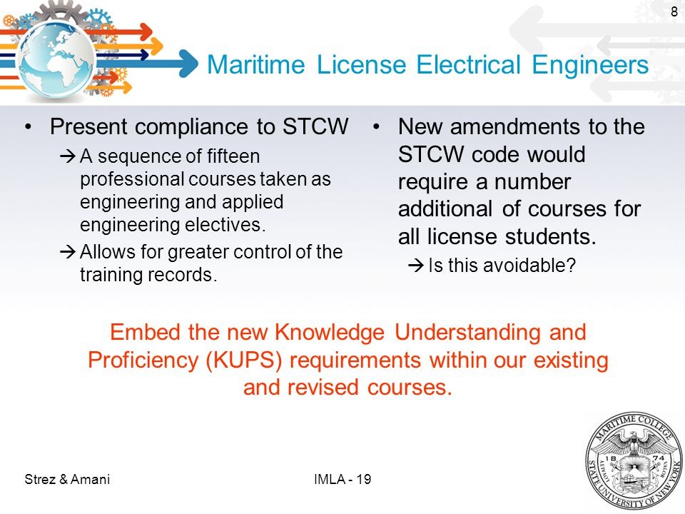 Maritime License Electrical Engineers Present compliance to STCW  A sequence of fifteen professional courses taken as engineering and applied engineering electives.