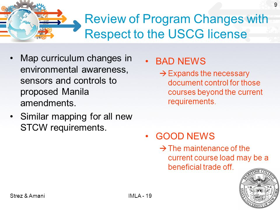 Review of Program Changes with Respect to the USCG license Map curriculum changes in environmental awareness, sensors and controls to proposed Manila amendments.