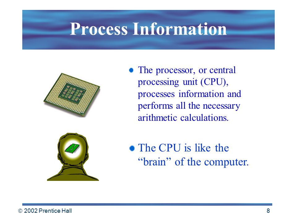  2002 Prentice Hall 7 Output Devices Computers produce information and send it to the outside world. A video monitor is a common output device. Print