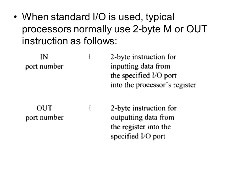 When standard I/O is used, typical processors normally use 2-byte M or OUT instruction as follows: