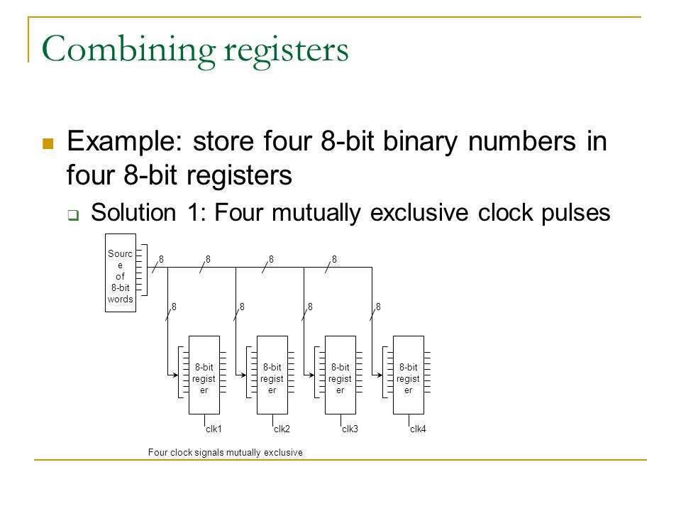 Combining registers Example: store four 8-bit binary numbers in four 8-bit registers  Solution 1: Four mutually exclusive clock pulses Sourc e of 8-bit words 8-bit regist er 8888 8888 clk1clk2clk3clk4 Four clock signals mutually exclusive