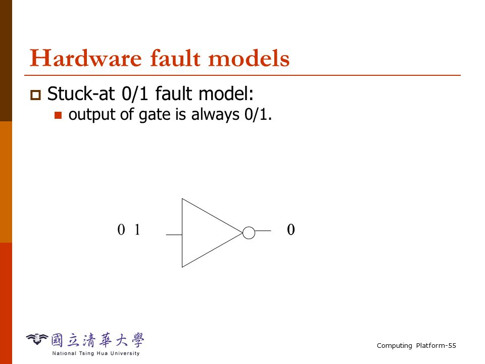 Computing Platform-55 Hardware fault models  Stuck-at 0/1 fault model: output of gate is always 0/1.