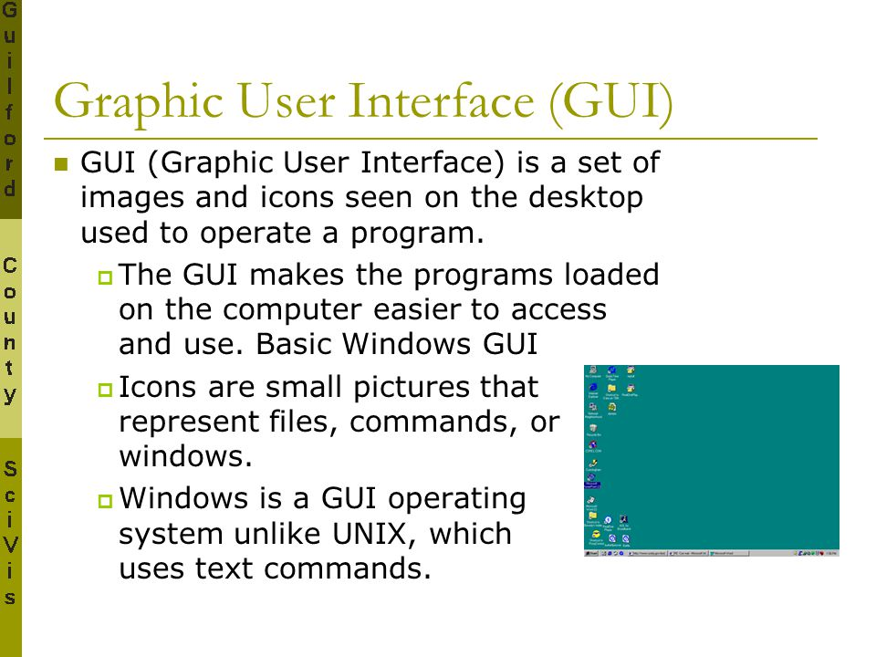 Graphic User Interface (GUI) GUI (Graphic User Interface) is a set of images and icons seen on the desktop used to operate a program.  The GUI makes