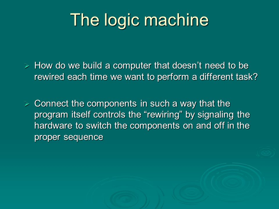 Logic Gates  Using switches, we can reproduce the logical operators AND AND OR OR NOT NOT  0 = false = off  1 = true = on