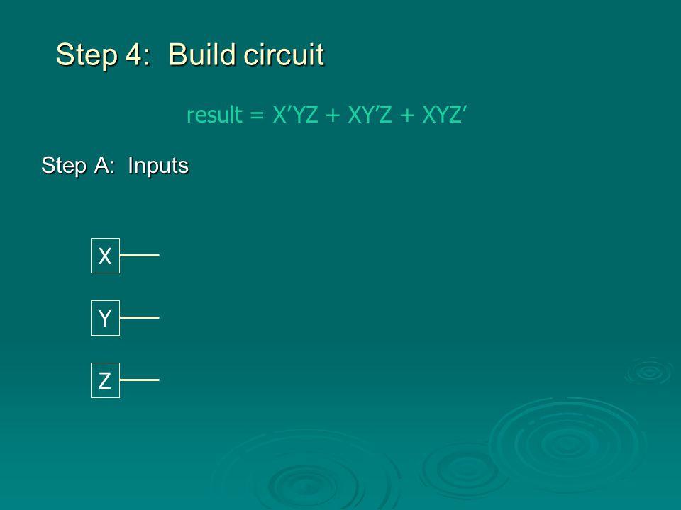 Step B: NOTs result = X'YZ + XY'Z + XYZ' X Y Z X' Y' Z'
