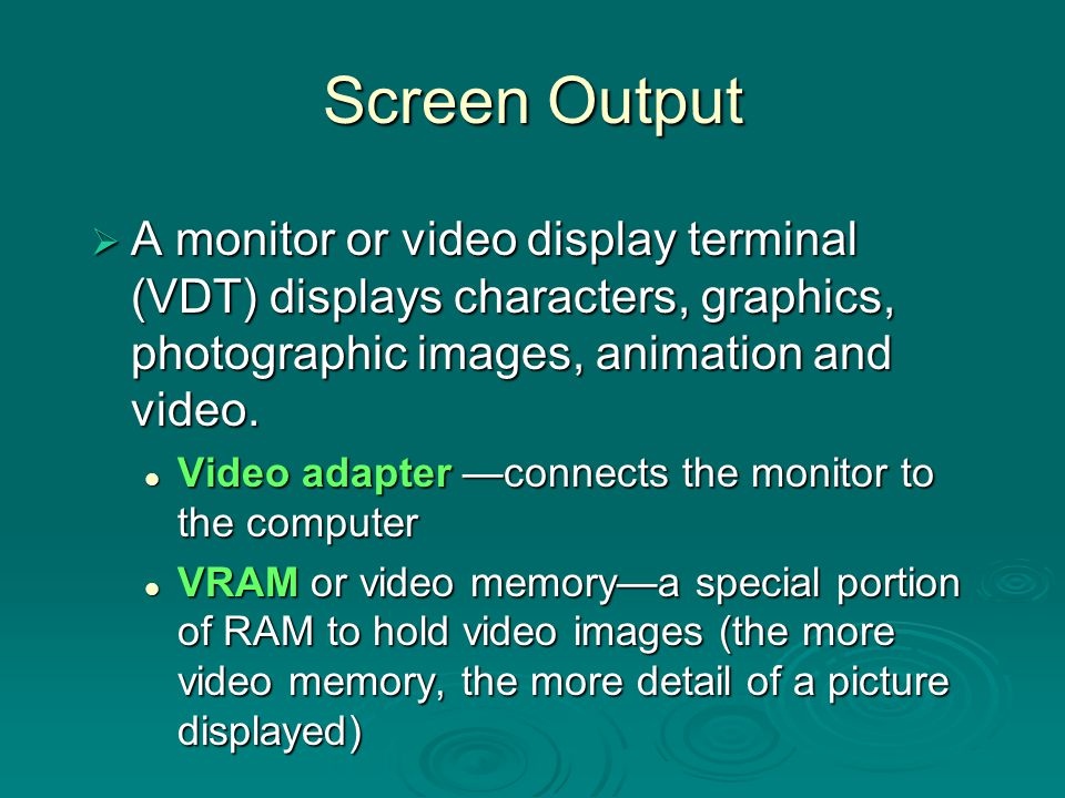 Screen Talk  Monitor size - measured as a diagonal line across the screen.