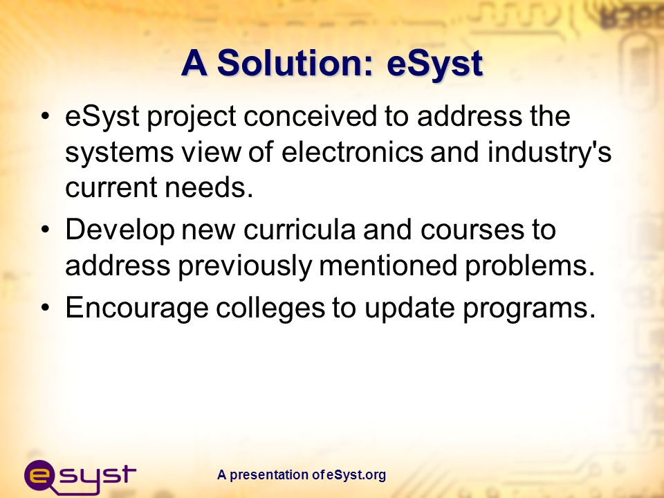 A presentation of eSyst.org The Top-Down Approach