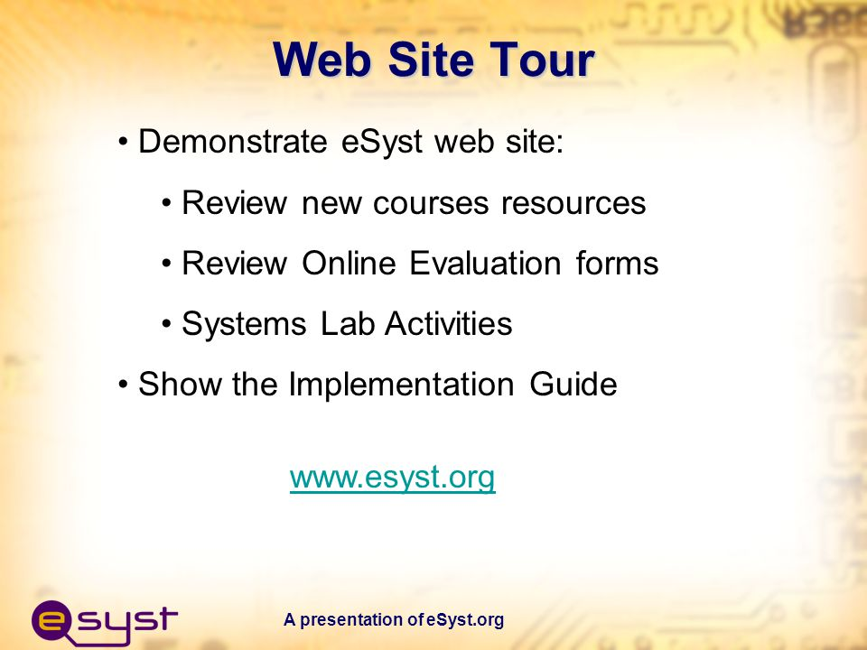 A presentation of eSyst.org Potential Solutions Talk to the publishers.