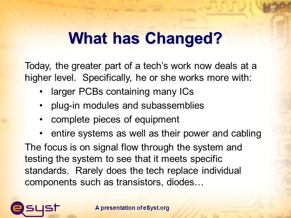 A presentation of eSyst.org So what has changed and what is a System Then to NowNow to the future