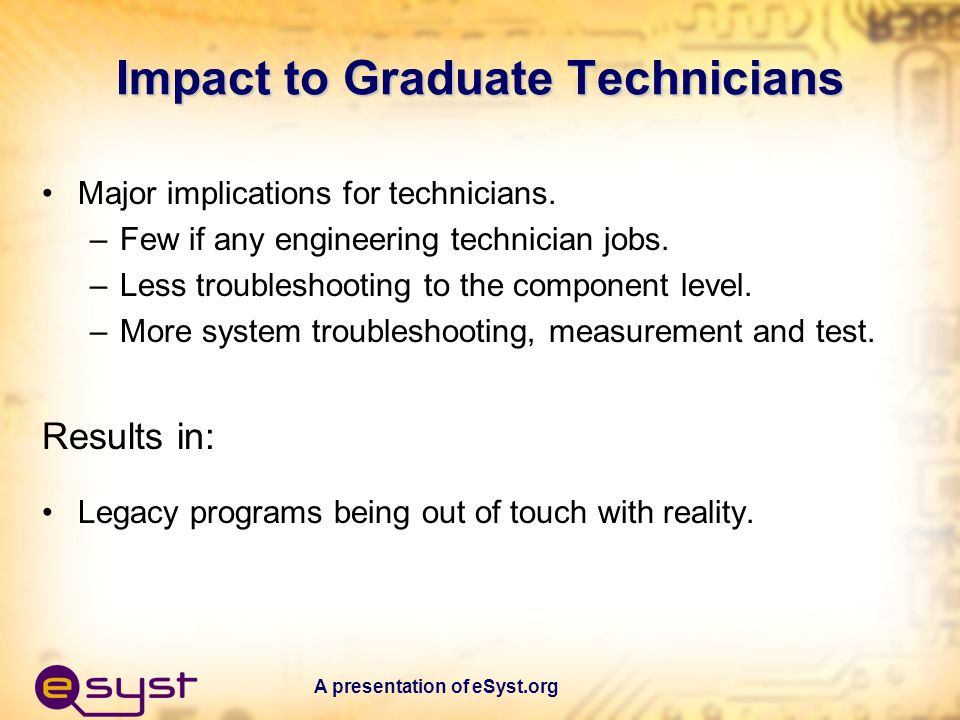 A presentation of eSyst.org Impact to AAS Degree Programs in Electronics Technology Most AAS programs were initiated in 70s & 80s or earlier.