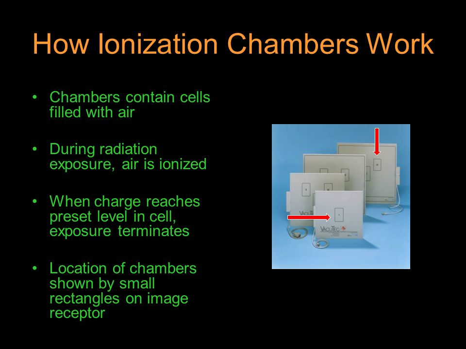 How Ionization Chambers Work Chambers contain cells filled with air During radiation exposure, air is ionized When charge reaches preset level in cell
