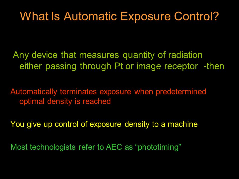 What Is Automatic Exposure Control.